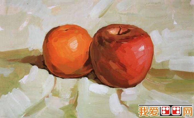 水粉画苹果桔子的画法教程04