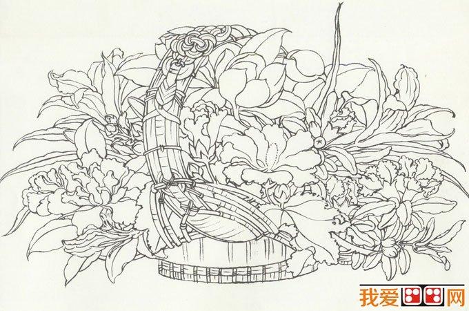李嵩《花篮图》_宋代写实工笔花卉花鸟画赏析图片