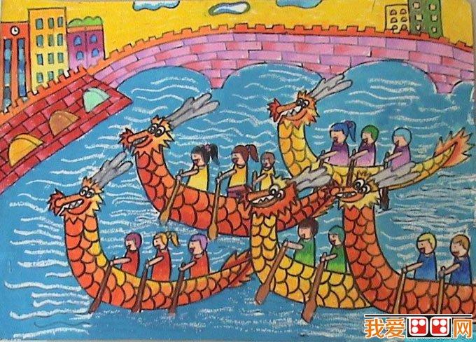 端午节赛龙舟儿童水粉画图片