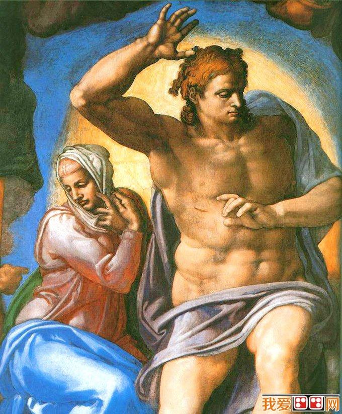 《最后的审判》是圣经的传统题材,在所有的教堂里几乎都有这个主题的壁画。它无非是宣传人死后凡行善升天,作恶入地的因果报应。基督教义说,耶稣被钉死后复活,最后升入天国。他在天国的宝座上开始审判凡人灵魂,此时天和大地在他面前分开,世间一无阻拦,大小死者幽灵都聚集到耶稣面前,听从他宣谈生命之册,订定善恶。凡罪人被罚入火湖,作第二次死,即灵魂之死,凡善者,耶稣赐他生命之水,以求灵魂永生。画家借题表现了许多代表人类正义的呼声的精神形象:在画面最上端,即靠近天顶两个拱形下,左右各绘了一组不带翅膀的天使,他们围住耶稣的刑