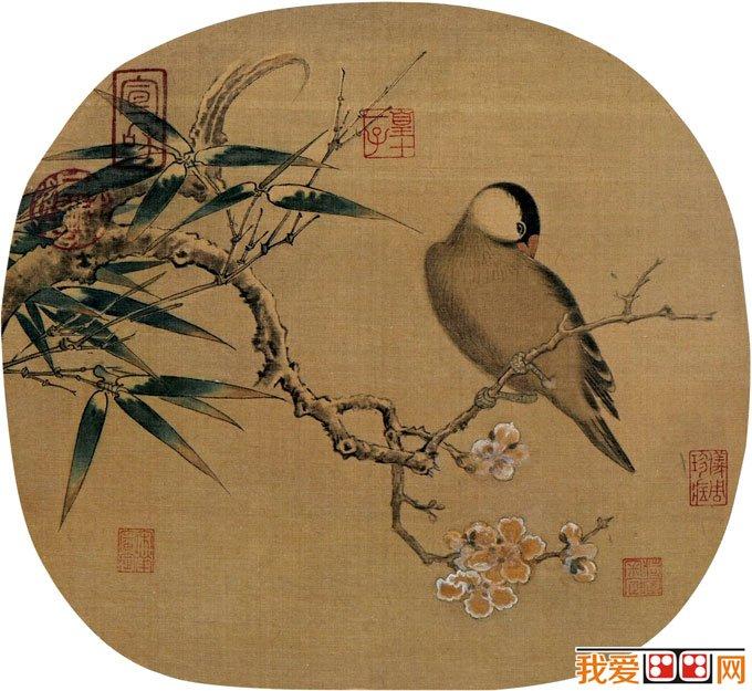 图 表现寒莺,梅花,竹子的工笔花鸟画图片
