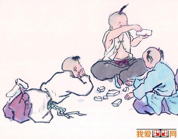 儿童画画图片:古代娃娃玩耍嬉戏国画人物图片12p