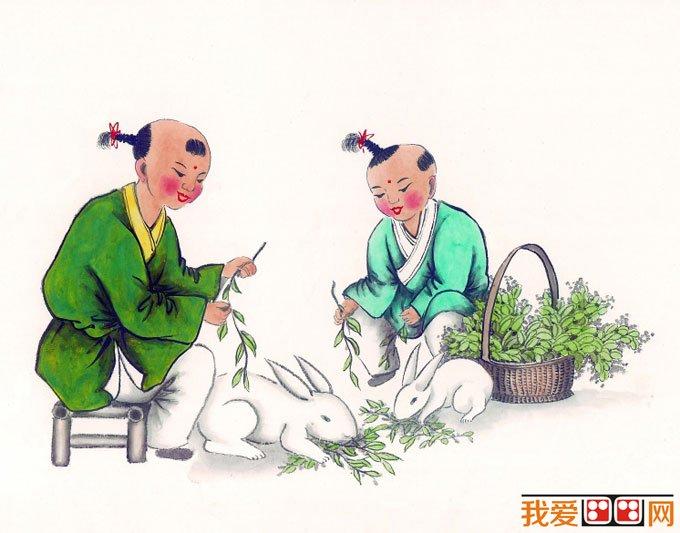 儿童画画图片:古代娃娃玩耍嬉戏国画人物图片12p(3)