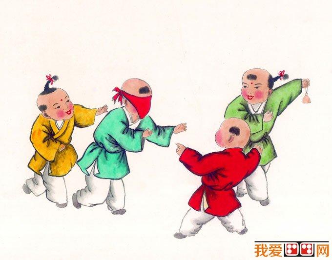 儿童画画图片:古代娃娃玩耍嬉戏国画人物图片12p(4)