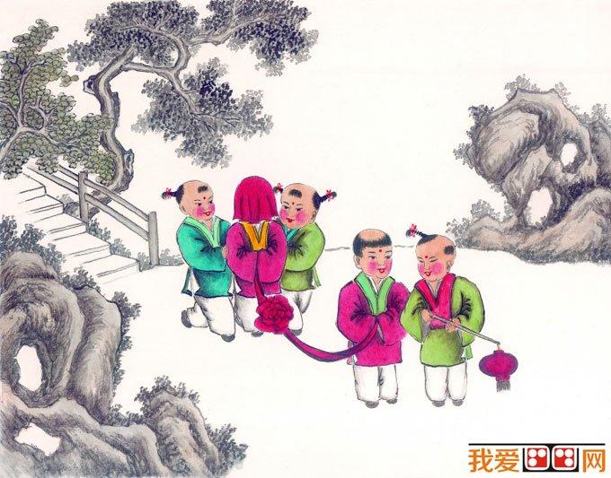 儿童画画图片:古代娃娃玩耍嬉戏国画人物图片12p(5)