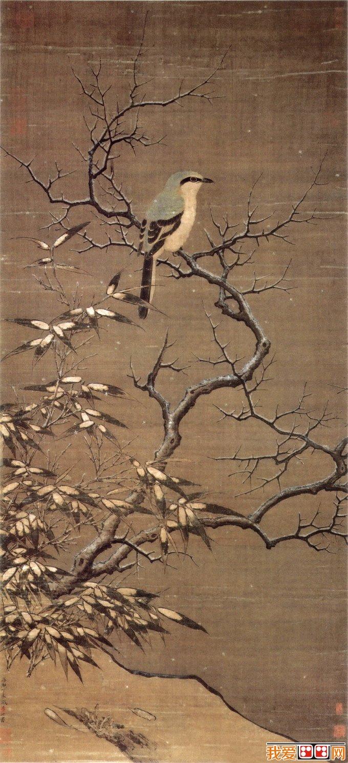 李迪《雪树寒禽图》_描绘伯劳鸟,荆棘,竹叶的院体工笔