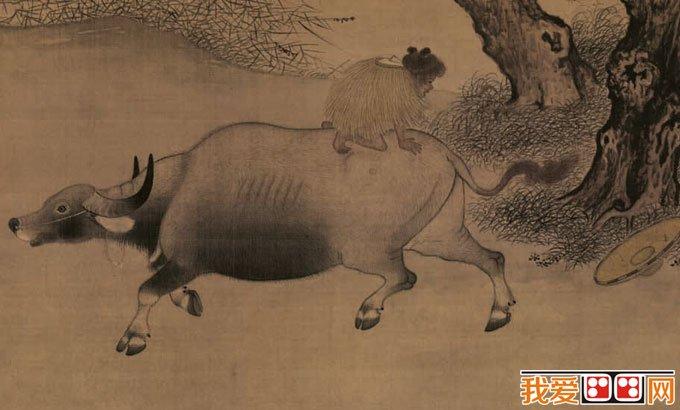 李迪《风雨牧归图》_风俗小景工笔水墨山水画(2)