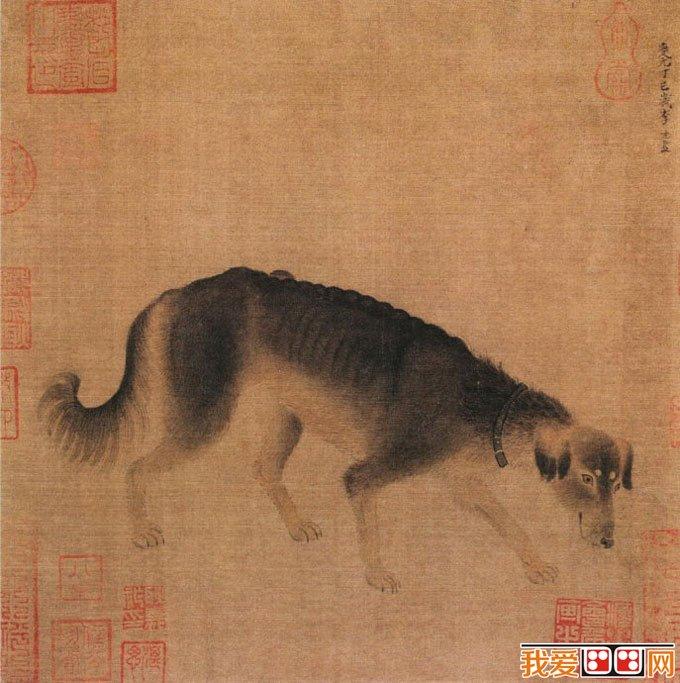 李迪《猎犬图》_描绘狗的写实工笔画