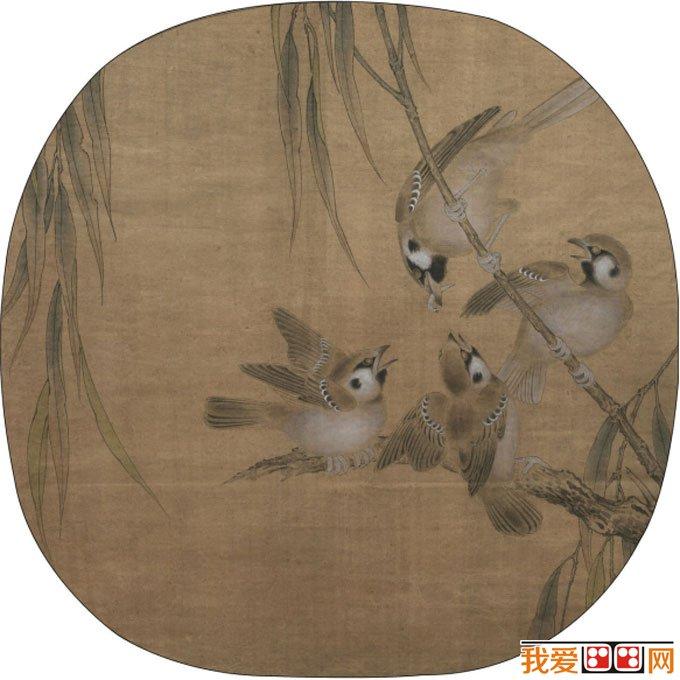 李晓明工笔教程:临摹花鸟画《杨柳乳雀图》绘画图文