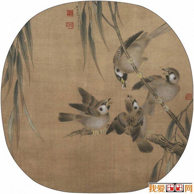 李晓明工笔教程:临摹花鸟画《杨柳乳雀图》绘画图文步骤(5)