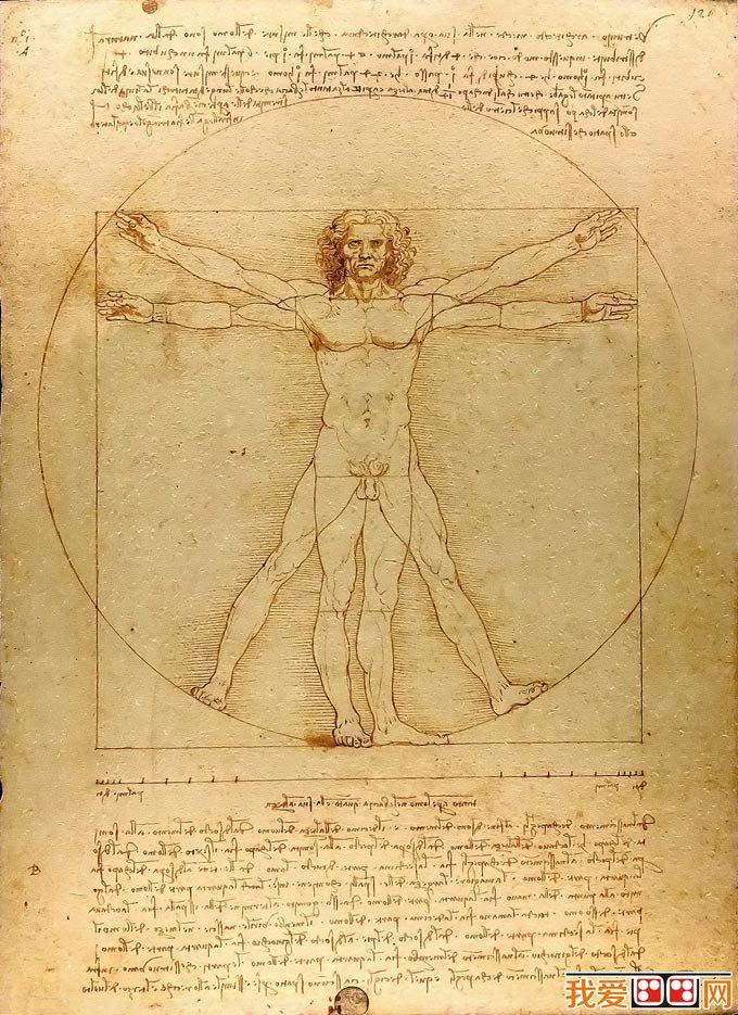 这就是名画《维特鲁威人》,出自 文艺复兴艺术巨匠达芬奇之手,画名是