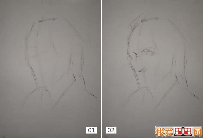 老人水粉画教程:外国老人头像水粉绘画步骤