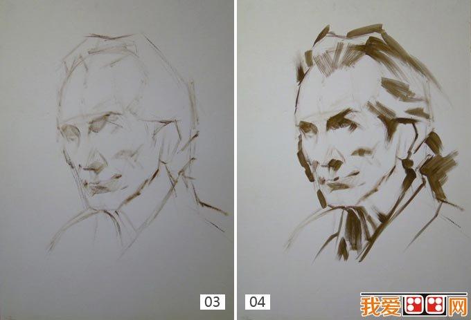 外国老头头像水粉绘画步骤
