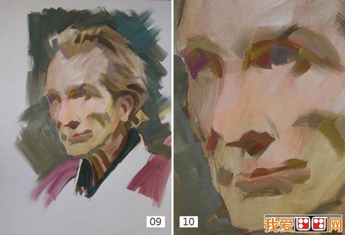 老人水粉画教程:外国老人头像水粉绘画步骤(3)