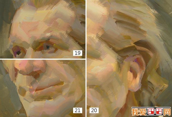 老人水粉画教程:外国老人头像水粉绘画步骤(5)