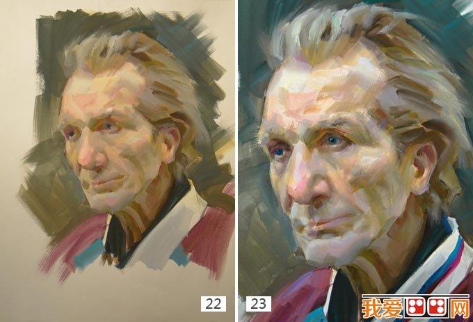 老人水粉画教程:外国老人头像水粉绘画步骤(6)
