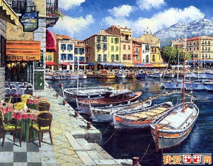 色彩艳丽的欧洲小镇风情复古油画风景图片18p图片