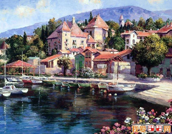 色彩艳丽的欧洲小镇风情复古油画风景图片18p(7)