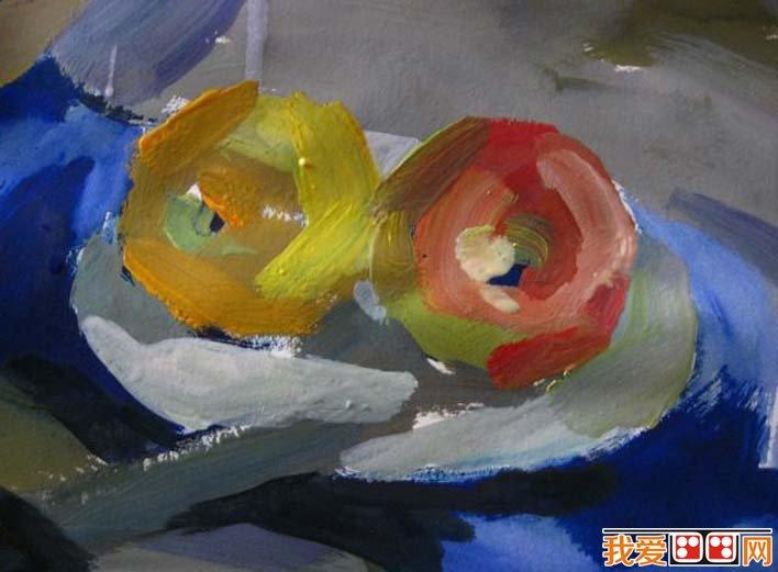 水粉静物图文教程:罐子,盘子,苹果,水果刀静物组合水粉画法(4)