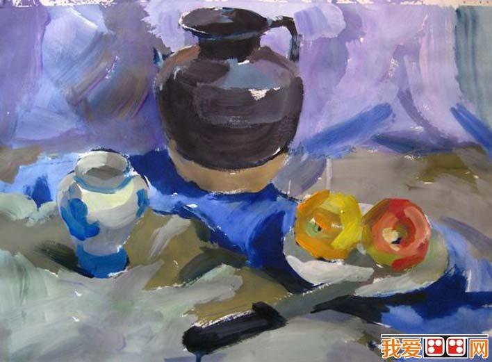 水粉静物图文教程:罐子,盘子,苹果,水果刀静物组合水粉画法(5)