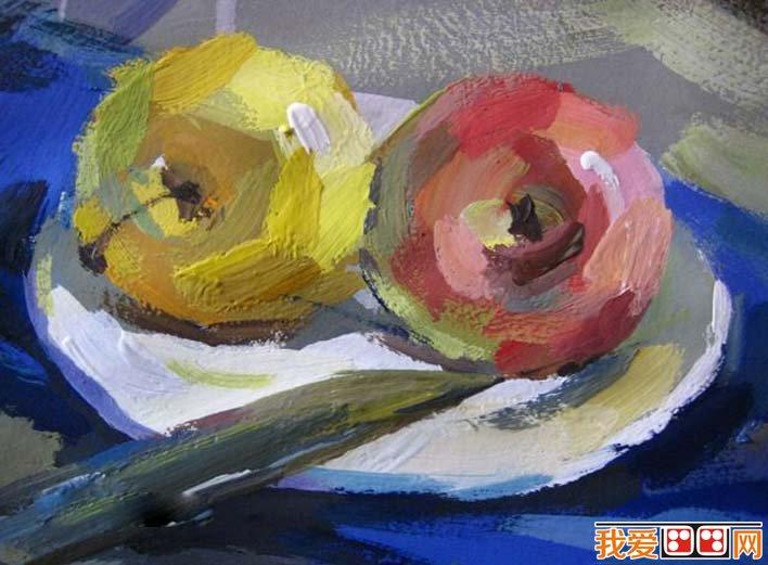 水粉静物图文教程:罐子,盘子,苹果,水果刀静物组合水粉画法(6)