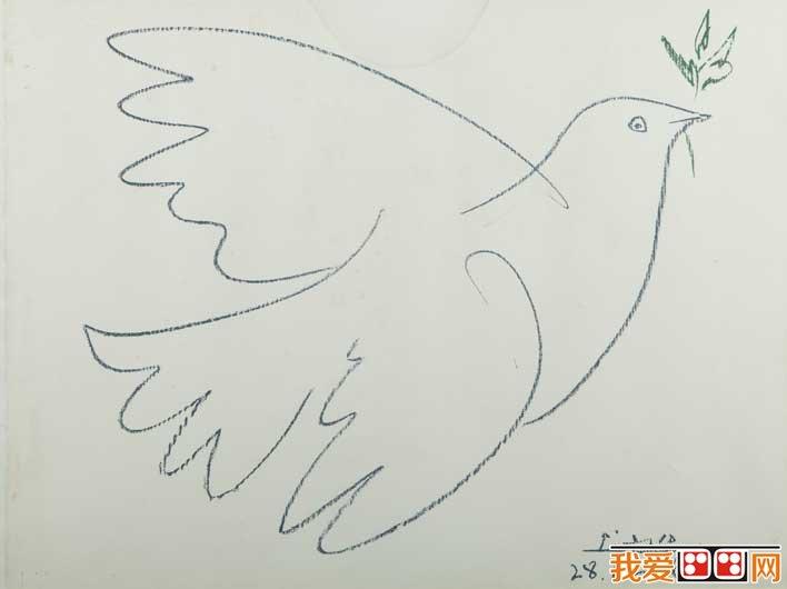 索12副和平鸽简笔画原图赏析图片