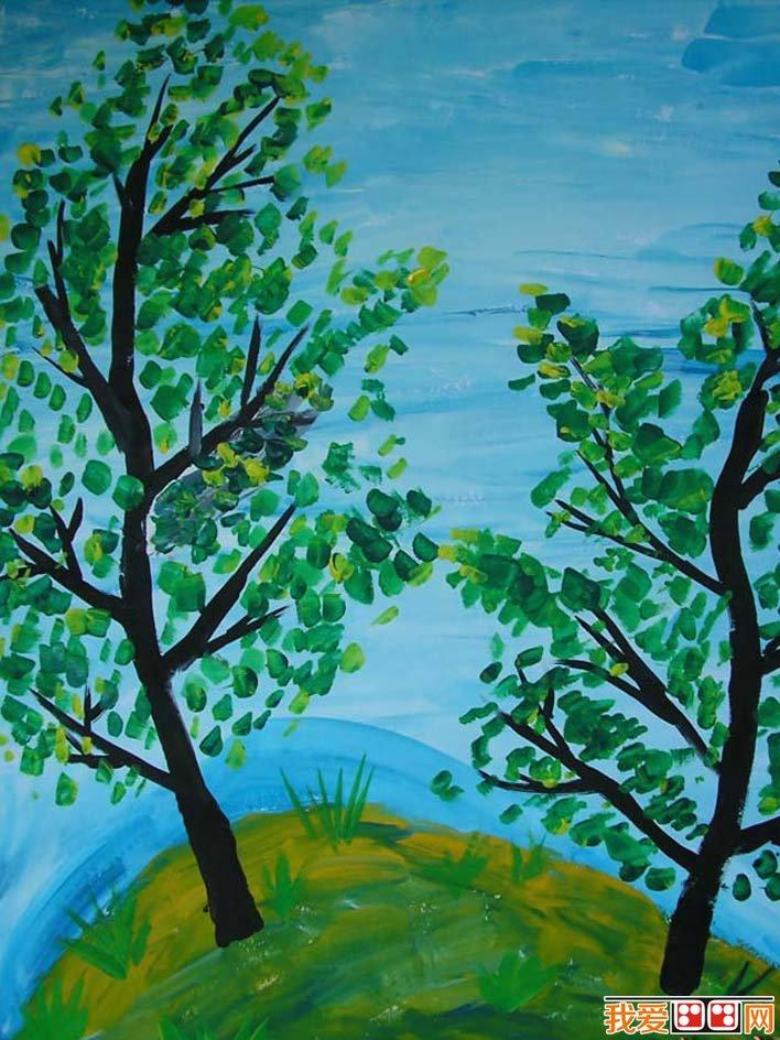 少儿水粉风景画作品_风景水粉画儿童画作品欣赏:春天的树
