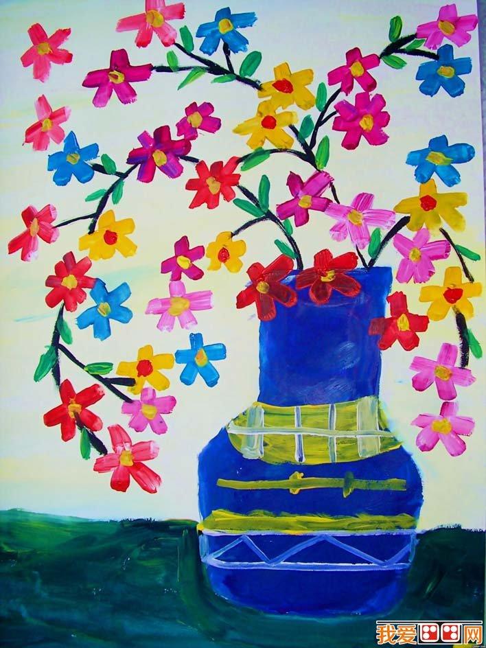 花卉静物水粉画儿童画作品欣赏:瓶花