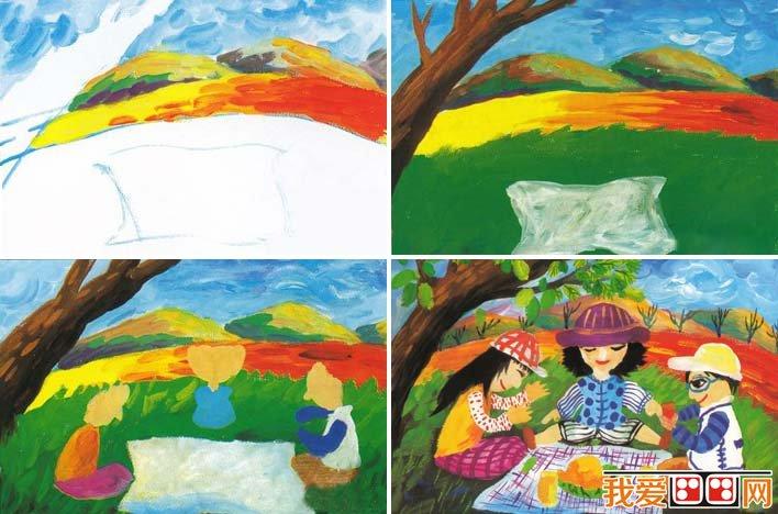 儿童水粉画教程 一家人野外假日聚餐水粉画画法和儿童范画