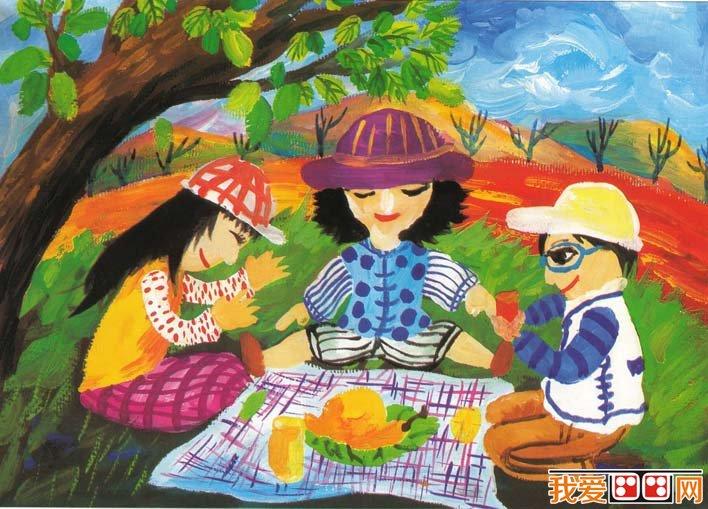儿童水粉画教程:一家人野外假日聚餐水粉画画法和儿童