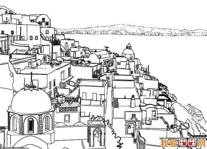钢笔风景速写作品 希腊爱琴海海边风景线描速写图高清图片