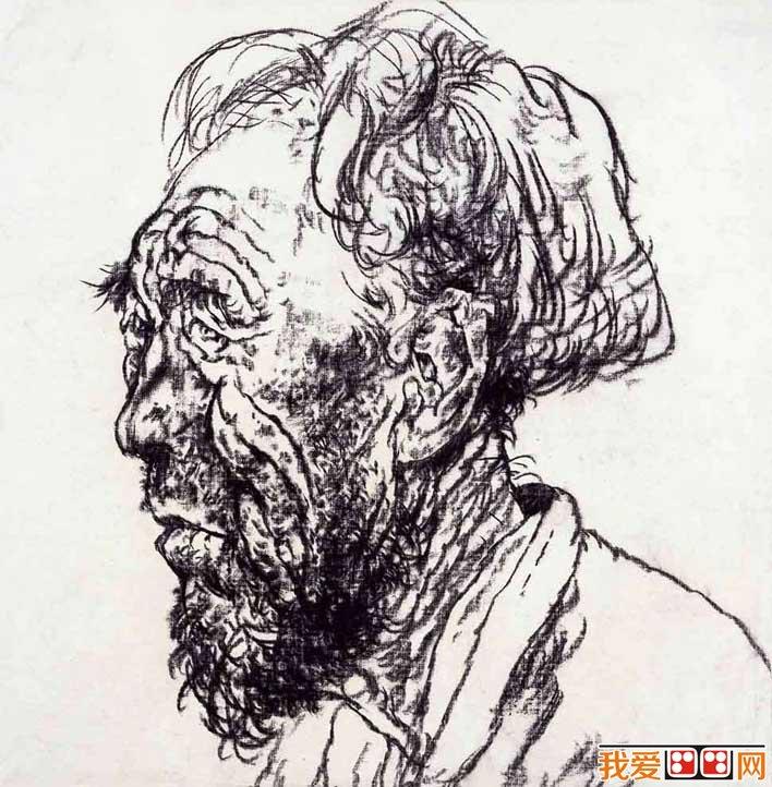 炭笔人物头像速写欣赏:两幅老人侧面头像速写图
