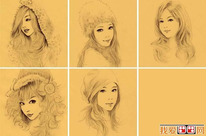 手绘素描美女头像,手绘出女生的完美气质和可爱迷人