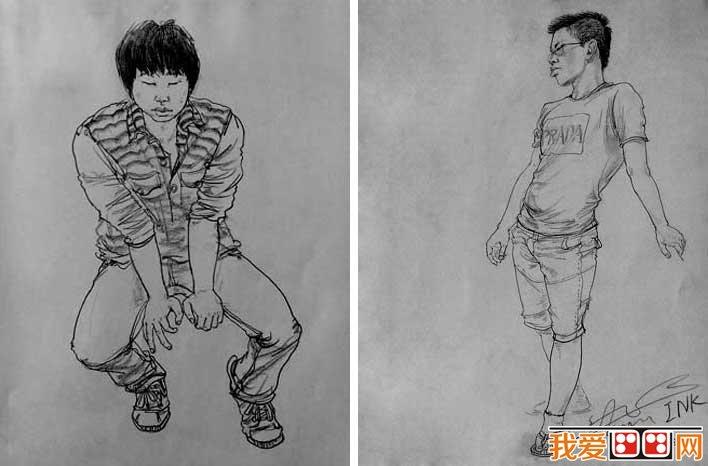 全身像人物速写:央美天美速写第一名刘旭全身像人物速写作品(4)