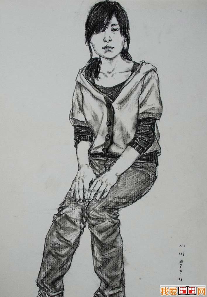 学画画 素描教程 素描人物 > 素描绘画作品欣赏:优秀女性全身像素描