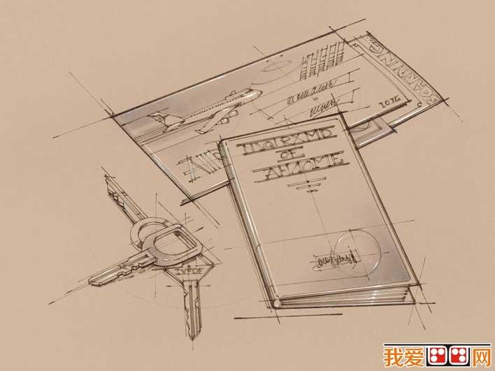 钥匙,机票,护照素描,手绘素描,办公用品线描画壁纸