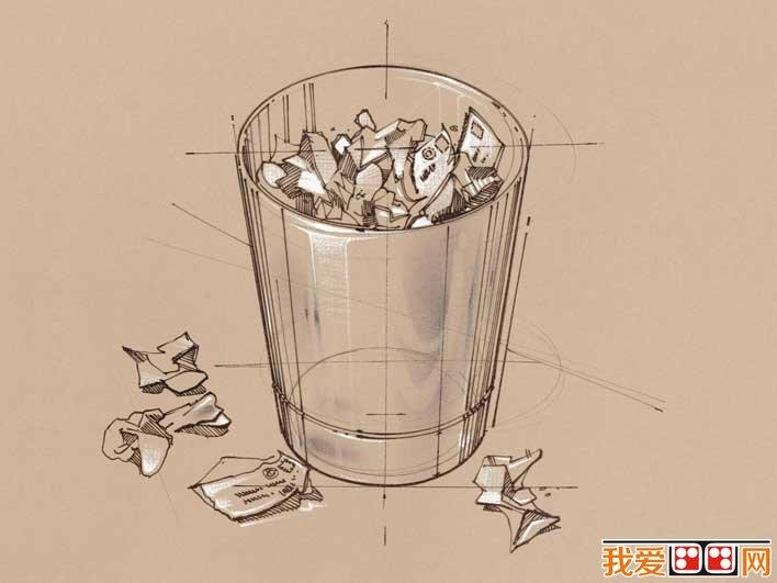 手绘素描非主流壁纸,办公用品线描画壁纸(13):垃圾桶纸屑组合