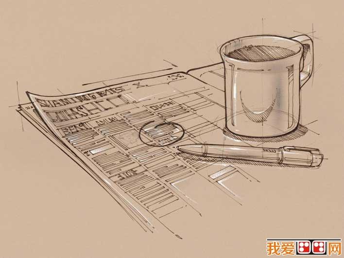 手绘素描非主流壁纸:办公用品线描画壁纸高清大图20副