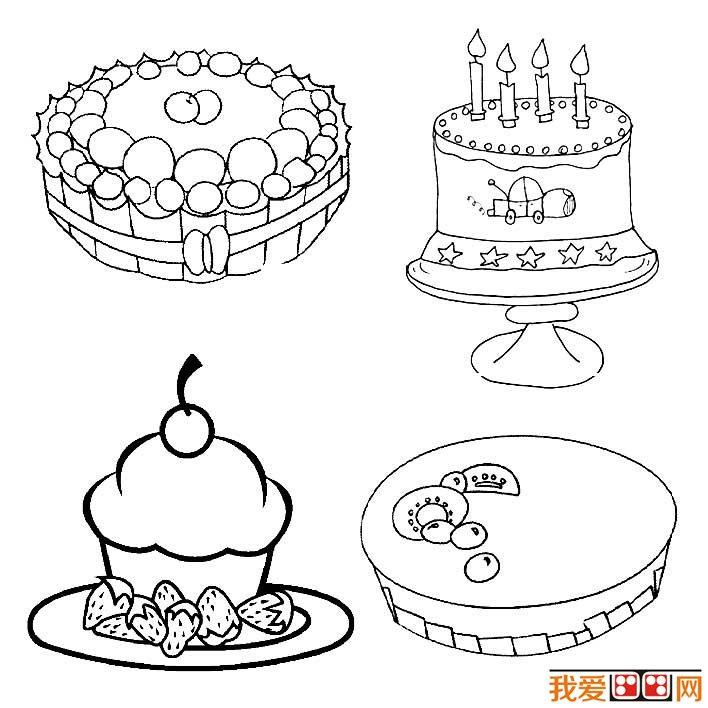 生日蛋糕简笔画图片大全,各种各样的生日蛋糕简笔画