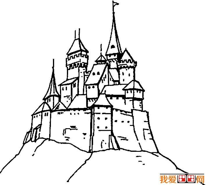 童话中的城堡简笔画,童话城堡简笔画图片大全 2图片