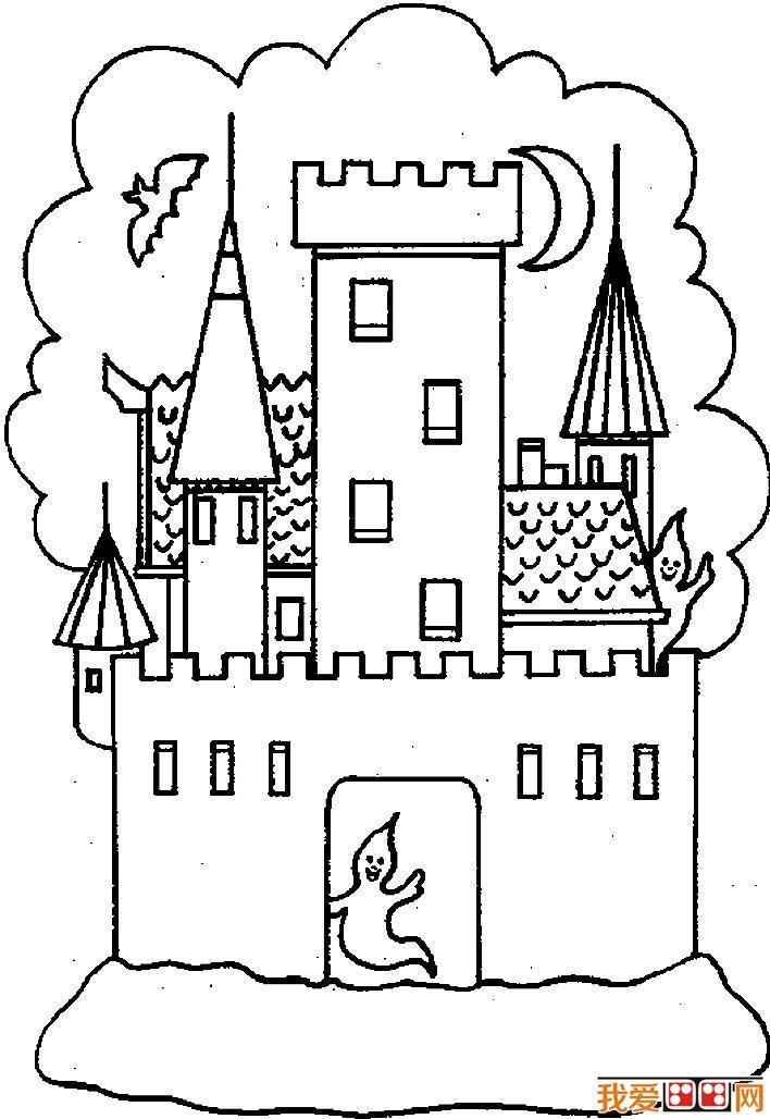 城堡簡筆畫,童話城堡簡筆畫圖片大全