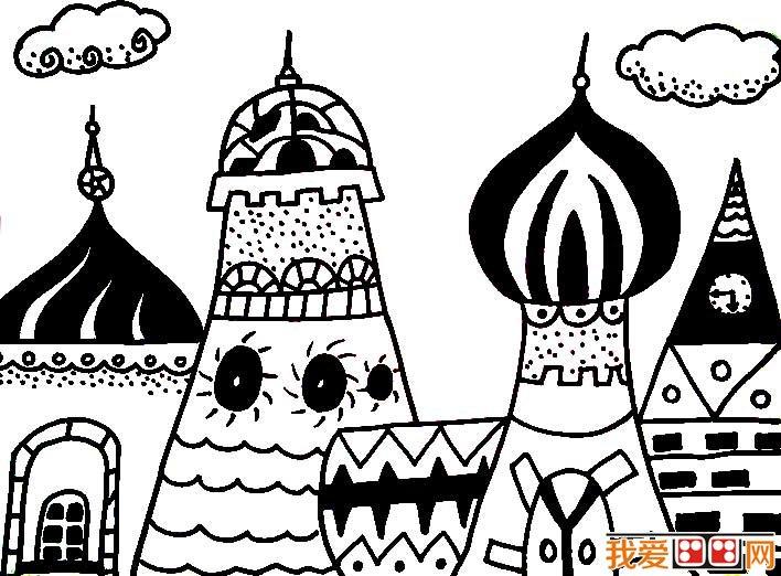 童话中的城堡简笔画,童话城堡简笔画图片大全(6)
