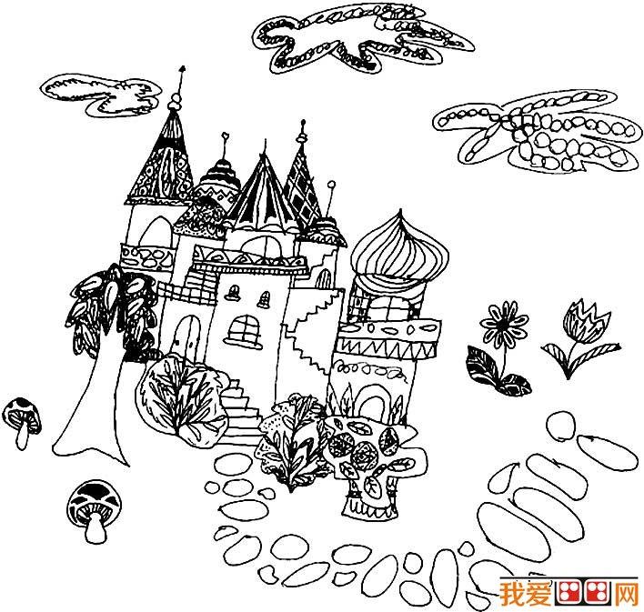童話中的城堡簡筆畫,童話城堡簡筆畫圖片大全(6)