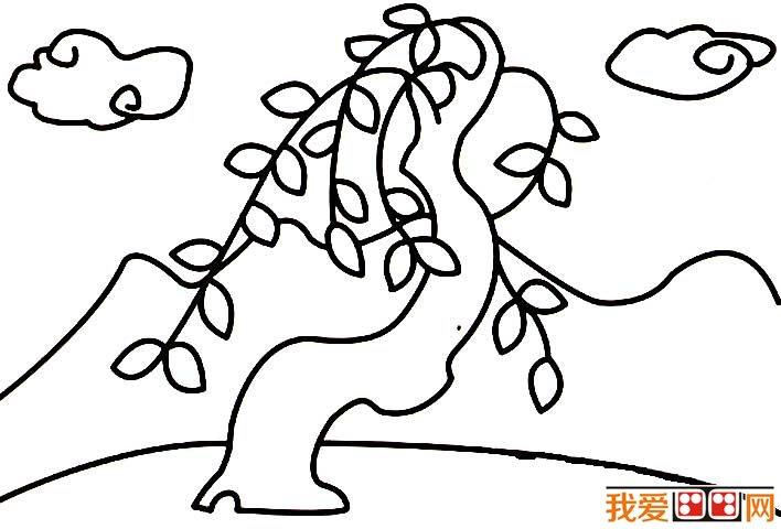 柳树简笔画,关于柳树的简笔画图片
