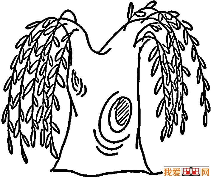 柳树简笔画,关于柳树的简笔画图片大全图片