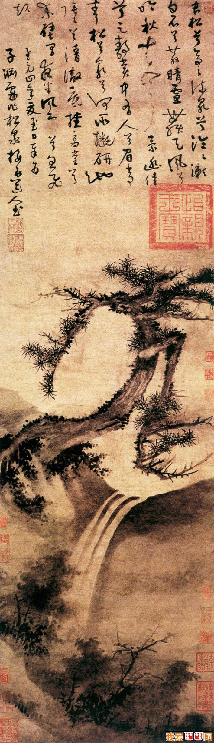 吴镇《松泉图》_元代描绘松树和瀑布的水墨画