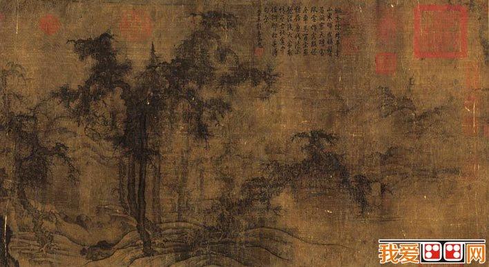四周山石间杂树丛生,郁郁葱葱;远处山峦耸峙,隐现在烟云中的寺庙殿堂