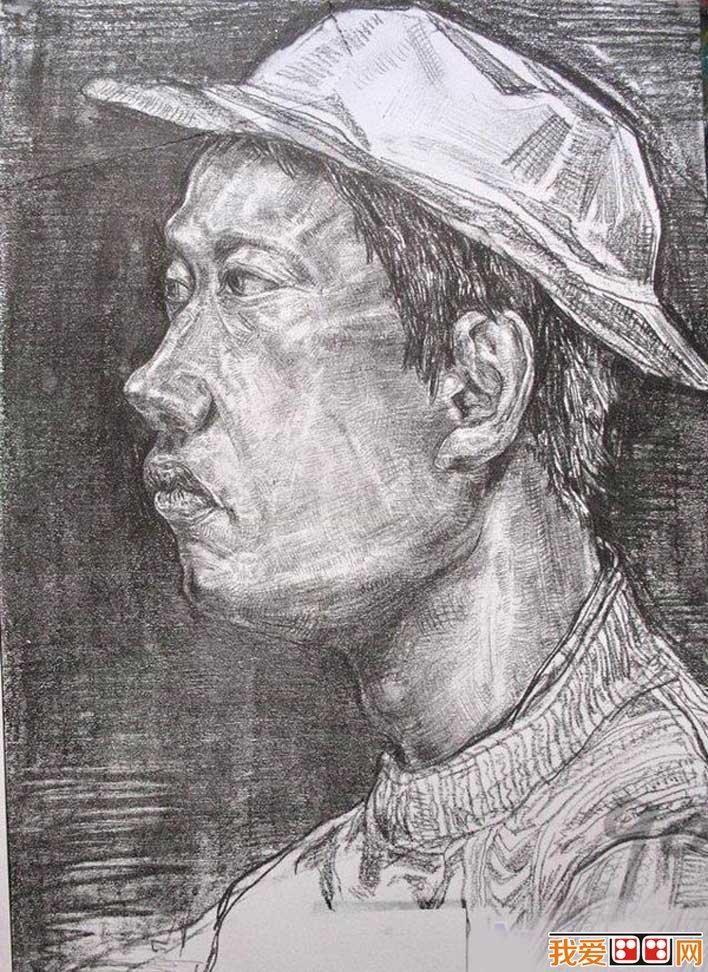鉛筆畫 人物側面