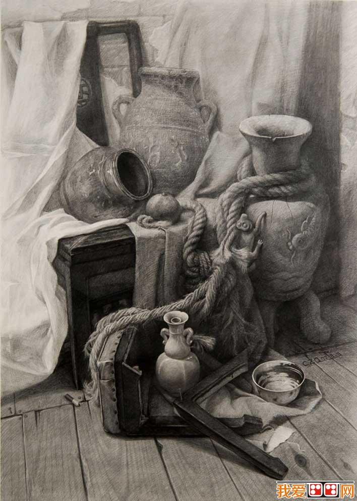 强烈质感写实素描静物和石膏像大卫优秀作品欣赏