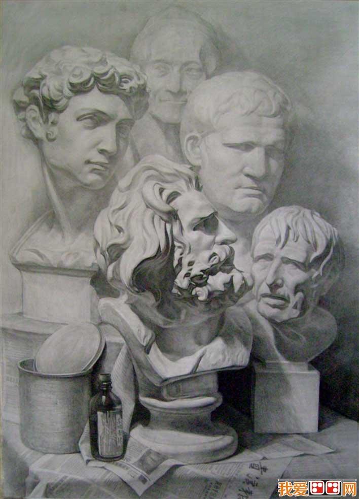 强烈质感写实素描静物和石膏像大卫优秀作品欣赏 2图片
